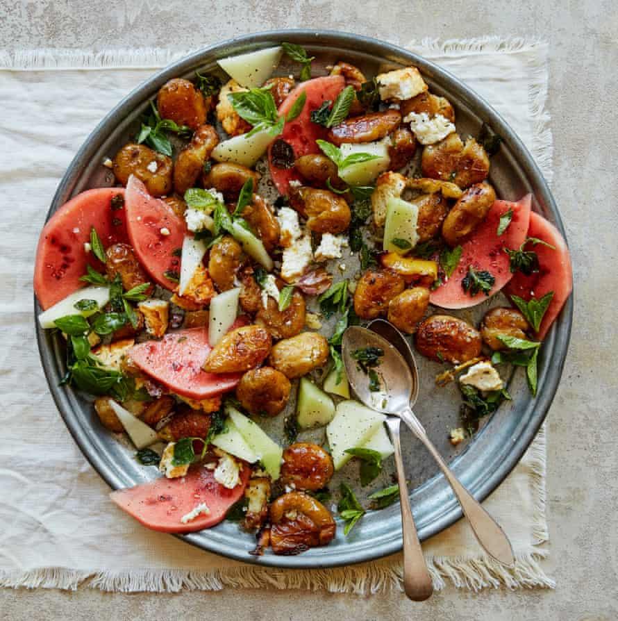 Melon, herb and roast feta salad