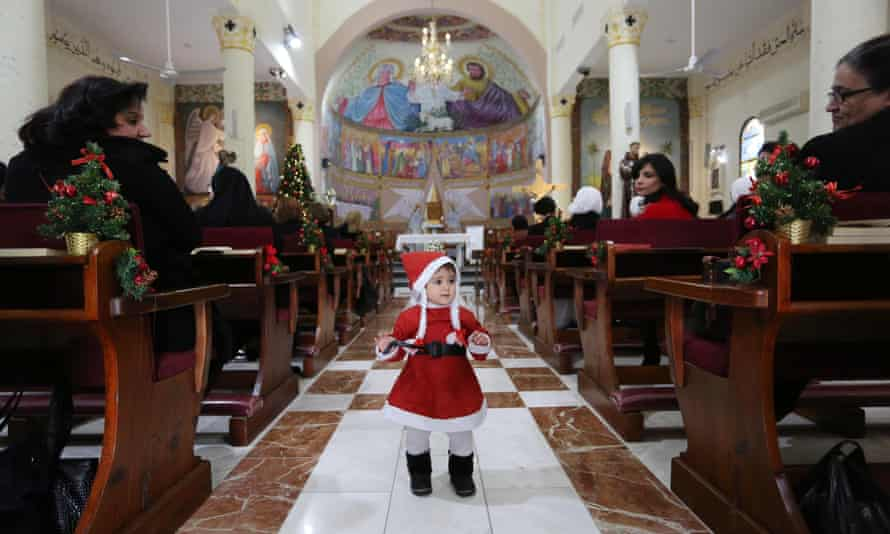 Inside the Holy Family Church in Gaza City this month.
