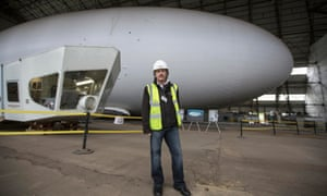 Bruce Dickinson in front of the Airlander 10