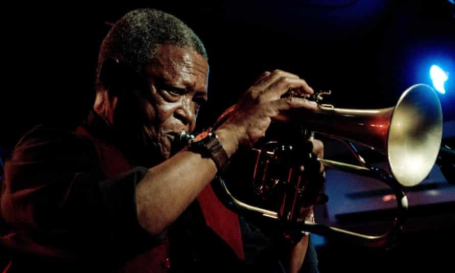 South African jazz musician Hugh Masakela at the New Morning club in Paris.