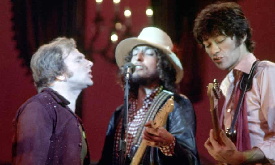 Van Morrison, Bob Dylan and Robbie Robertson on stage for the Band's 'The Last Waltz' concert.