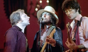'Sense of adventure' … Robbie Robertson (right) with Van Morrison and Bob Dylan in The Last Waltz.