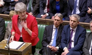 Theresa May speaks after tellers announced the results of tonight's vote on her Brexit deal
