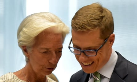 IMF chief Christine Lagarde and Finland's finance minister Alexander Stubb confer suring SAturday's talks in Brussels.