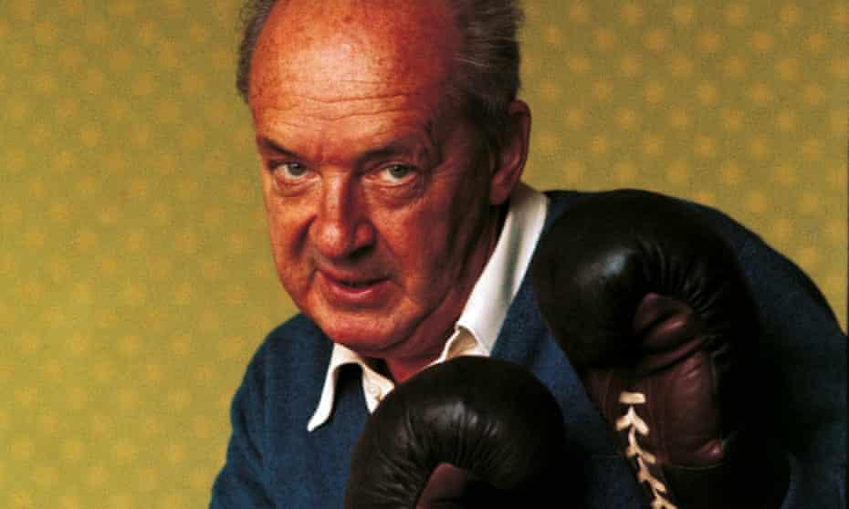 Vladimir Nabokov poses with boxing gloves.