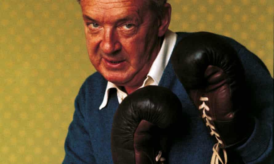 Vladimir Nabokov, posing in boxing gloves.