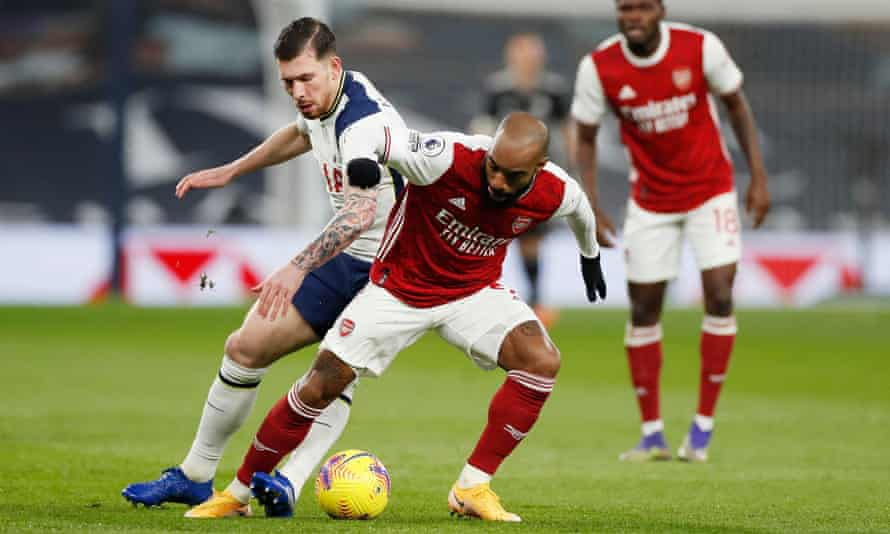 Alexandre Lacazette spent a lot of the game on Sunday dropping into an almost No 10 role where he found Tottenham's Pierre-Emile Højbjerg for company.