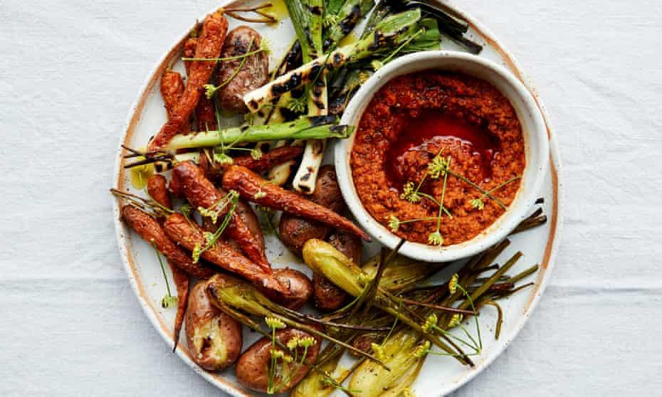 Anna Jones's romesco sauce with griddled vegetables