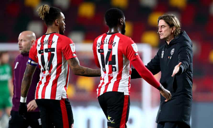 Thomas Frank with Ivan Toney and Josh Dasilva, two of the players in his Brentford squad he feels could go on to win England caps.