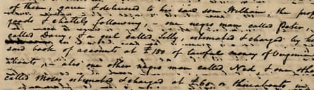In the 1790s in Virginia, Lazarus Levy, the great-great-great-great-great grandfather of Amy O'Rourke, was involved in a lawsuit with his deceased wife's relatives in a probate dispute. Among the property at issue were five slaves: Peter, Darsy, Lilly, Ned, and Moses. Pictured here is the handwritten fragment, part of a chancery court record, where these slaves were named.