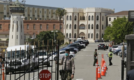San Quentin state prison in California. Governor Gavin Newsom has ordered the release of vulnerable people but they accounted for less than half of drop in inmates between March and June.