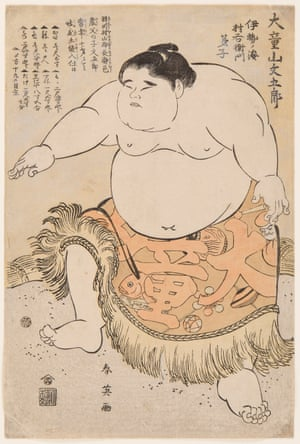 "Sumo Wrestler Daidozan Bungoro, who at the age of 7 stood a fairly modest 3'10"" but weighed a staggering 183 pounds, was a popular figure in 1795"