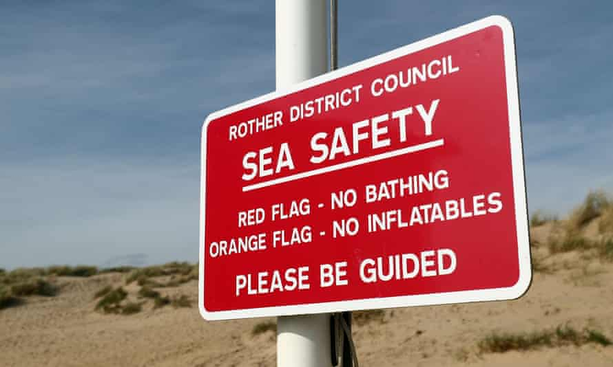 Sea safety warning sign at Camber Sands