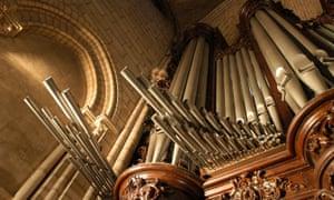 The organ of Notre Dame de Paris Cathedral.