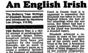 A review of Bowen's The Mulberry Tree, in the Observer, 21 November 1986.