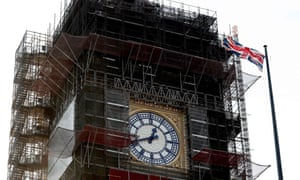 Big Ben during ongoing renovations to the Tower and the Houses of Parliament.