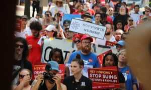 National Nurses United, which sponsored Saturday's protest, said: 'They can do this tomorrow. We're not just asking, we're demanding.'