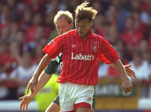 Forest's Teddy Sheringham rocking the Labatt's in 1992.