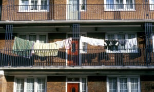 Washing outside flats on a council housing estate in Limehouse, east London