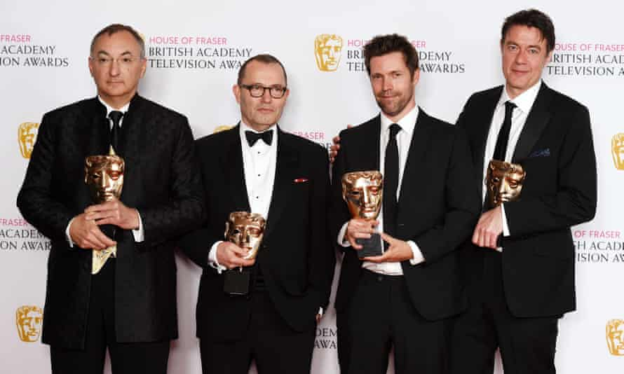 From left, Peter Kosminsky, Colin Callender, Mark Pybus and Peter Straughan accept the best drama Bafta award for Wolf Hall.