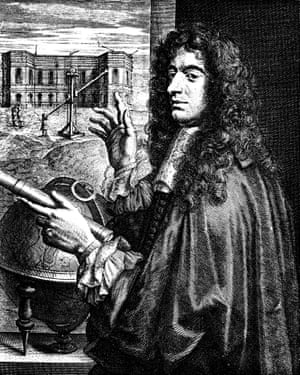 Giovanni Dominique Cassini gestures to the Paris Observatory and long telescope of the kind used to observe Saturn's rings.
