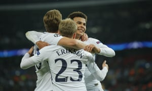Christian Eriksen is congratulated by Dele Alli and Harry Kane after scoring Spurs' third goal.