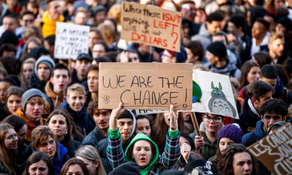 Students take part in a 'Youth For Climate' strike in Lausanne, Switzerland.