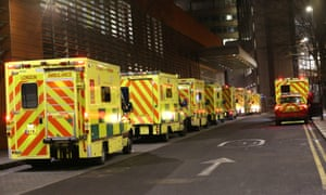Ambulances queued outside the Royal London Hospital, in London. NHS England figures show England's hospitals now have more Covid-19 patients than during April's first-wave peak.