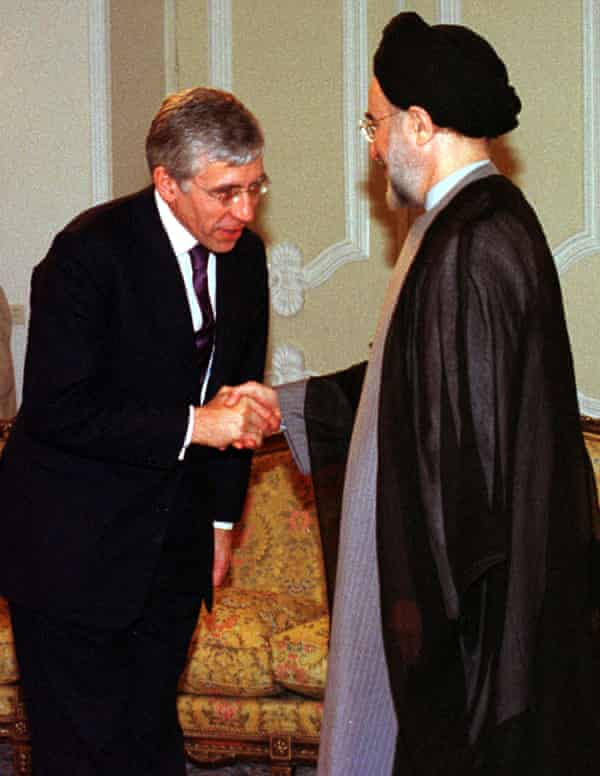 Former British foreign secretary Jack Straw greets Mohammad Khatami, the former president of Iran, in 2001