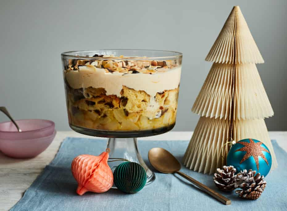 Thomasina Miers' pear, panettone and chocolate trifle.