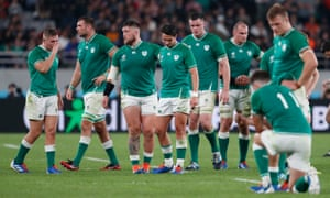 The Ireland players looks dejected after the match.