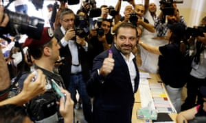 The Lebanese prime minister, Saad Hariri, votes in the parliamentary election