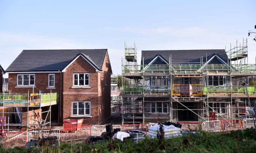 detached houses under construction in Congleton