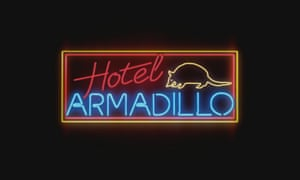 The title graphic for 'Hotel Armadillo' – open 24/7 every day of the Pantanal year.