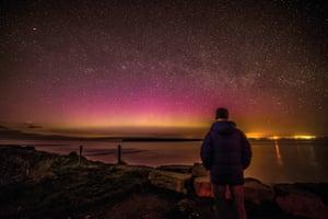 Melanie Windridge watching the aurora in Caithness, Scotland
