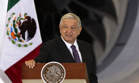 Andrés Manuel López Obrador speaks at his daily press conference in Mexico City on 27 July.