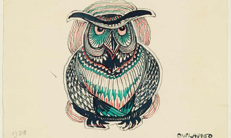 Ink sketch of owl by JRR Tolkien