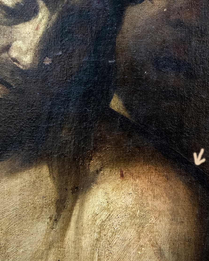 Detail showing the brush strokes that helped identify the work