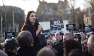 British Labour Co-operative politician Luciana Berger addresses the crowd during a demonstration in Parliament Square against anti-Semitism in the Labour Party.