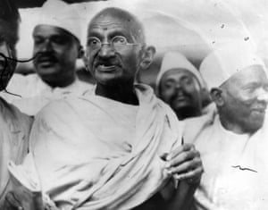 Mahatma Gandhi leading the Salt March in protest against the government monopoly on salt production.