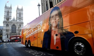 One of the battle buses next to Westminster Abbey in London.