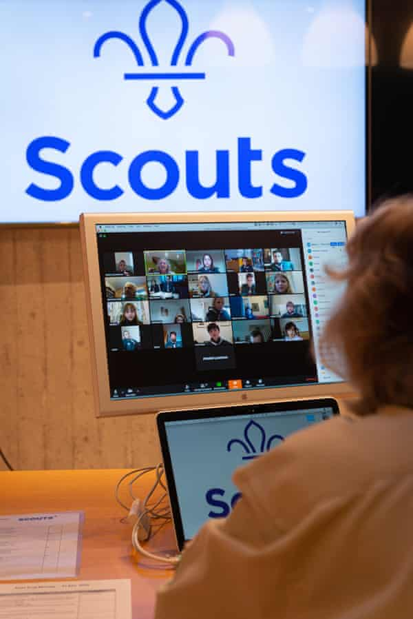 Lynn Millar, leader of East Sheen scouts in south-west London, leads a Zoom meeting with her troop.
