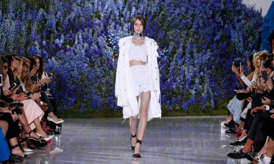 A model on the Dior Spring/Summer 2016 catwalk.