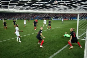 Croatia players watch with relief as Kane's second effort loops over the bar.