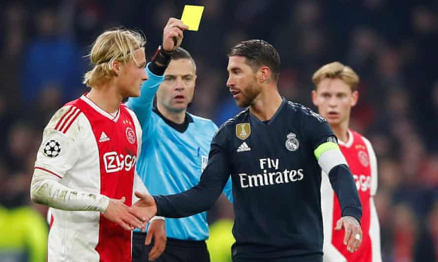 Real Madrid admitted in an extraordinary post-match interview after the Ajax game that he wanted to receive his late yellow card.