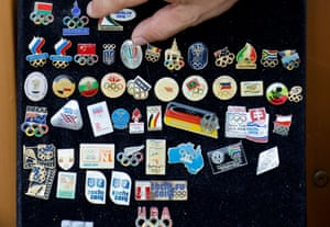 Tokyo, Japan Collector Ryuhei Nishikubo displays his pins before the postponed Olympic Games