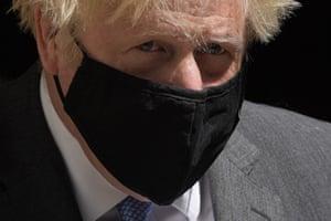 Boris Johnson leaves 10 Downing Street this morning for PMQs.