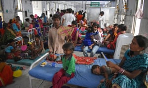 Children with acute encephalitis syndrome, at the Sri Krishna hospital in Muzaffarpur district, east Bihar, on 19 June
