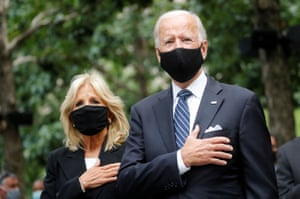 Democratic presidential candidate Joe Biden, with his wife Jill at his side, as he attended the ceremonies marking the 19th anniversary of the 9/11 2001 attacks on the World Trade Center.