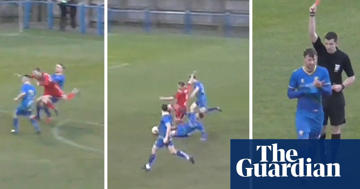 Garforth Town player sent off after two bookings in same passage of play – video
